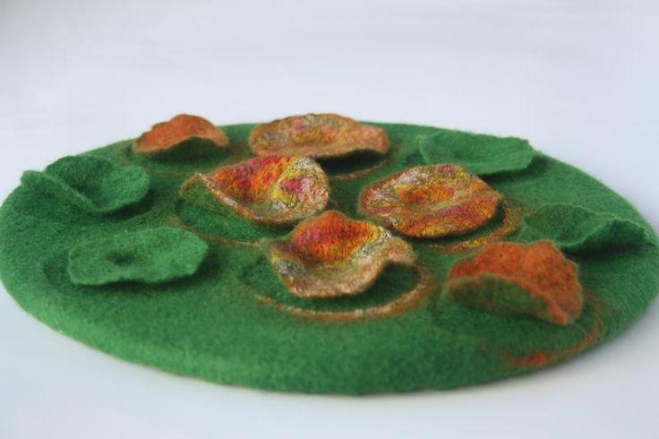 Nasturtium Patch.  By Gill Brooks.  Handmade wool felt wall art.