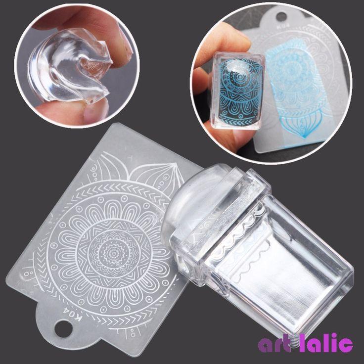 2017 Del Arte Del Clavo Puro Transparente de Silicona Jelly Nail Stamper/Raspador Transparente Sello Del Clavo Que Estampa la Placa Del Arte Del Clavo de DIY