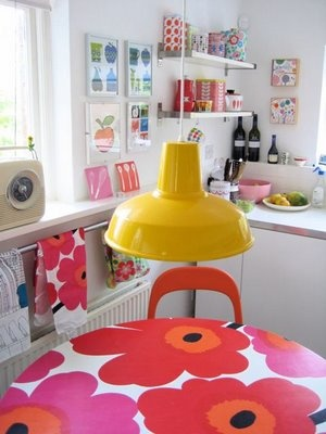 My wonderful vintage Marimekko formica kitchen table - one of my favourite pieces of furniture.