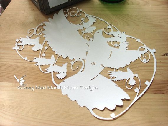 papercutting Template 'Doves' Commercial use by MadMarchMoon