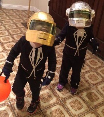 Super-Crafty Halloween Costume Contest … the winners are here! - Dee send in this Daft Punk costume, worn by 2-year-old friends Josie and Kate.