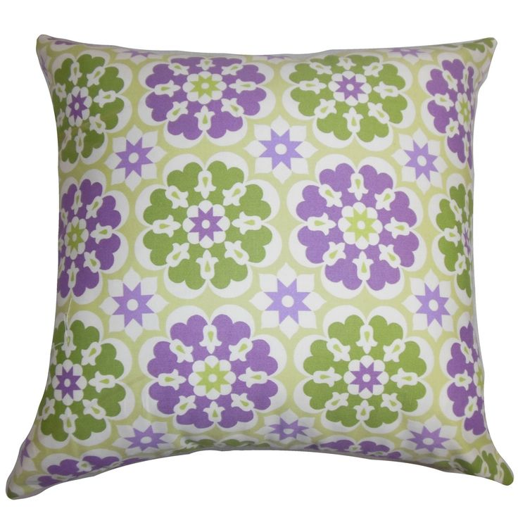 Incorporate this summer-ready throw pillow to your collection to brighten up your living space. This accent pillow features a floral pattern in white, purple and green hues.