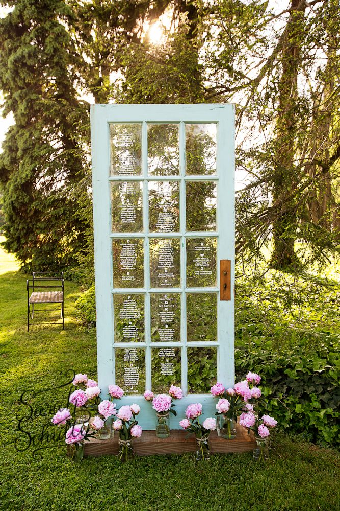 Old door seating chart. Rustic seating chart. Window seating chart. Photograph by www.sarahschulte.com @martha_weddings