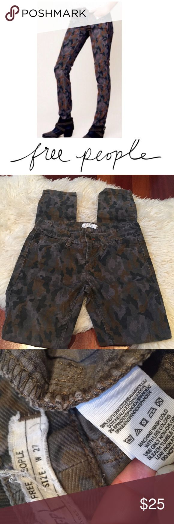 Free People Military Camo Skinny Corduroy Pants Free People Military Camo Skinny Corduroy Pants. 8 inch rise. 31 inch inseam. Size 27 which is a 4. Gently worn. Great condition. Feel free to make an offer or bundle & save! Free People Pants Skinny