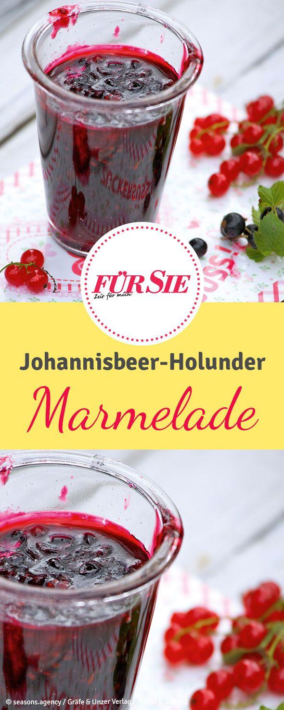 Rezept für Marmelade mit schwarzer Johannisbeere und Holundersaft. Im Rezept verraten wir, wie sich Marmelade ganz einfach einkochen lässt.