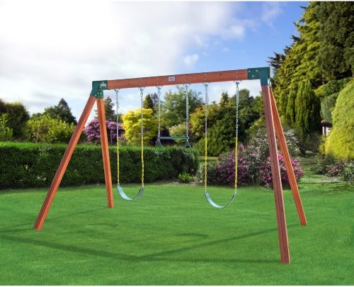 Eastern Jungle Gym Classic A-Frame Cedar Swing Set with Lumber - Swing Sets at Hayneedle  $670