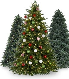 Tree Classics: Artificial Christmas Trees (and somewhat cat proof if you add hand weights to hold the stand firmly to the ground!) Best one I could find.  Looks real!