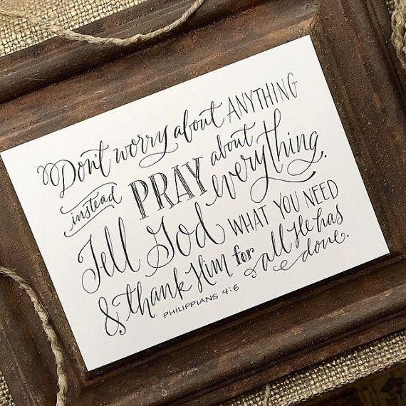 Philippians 4:6 Hand-Lettered Scripture Print by Paperglaze