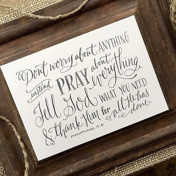 Philippians 4:6 - Hand-Lettered Scripture Print - Bella Scriptura Collection from Paperglaze Calligraphy