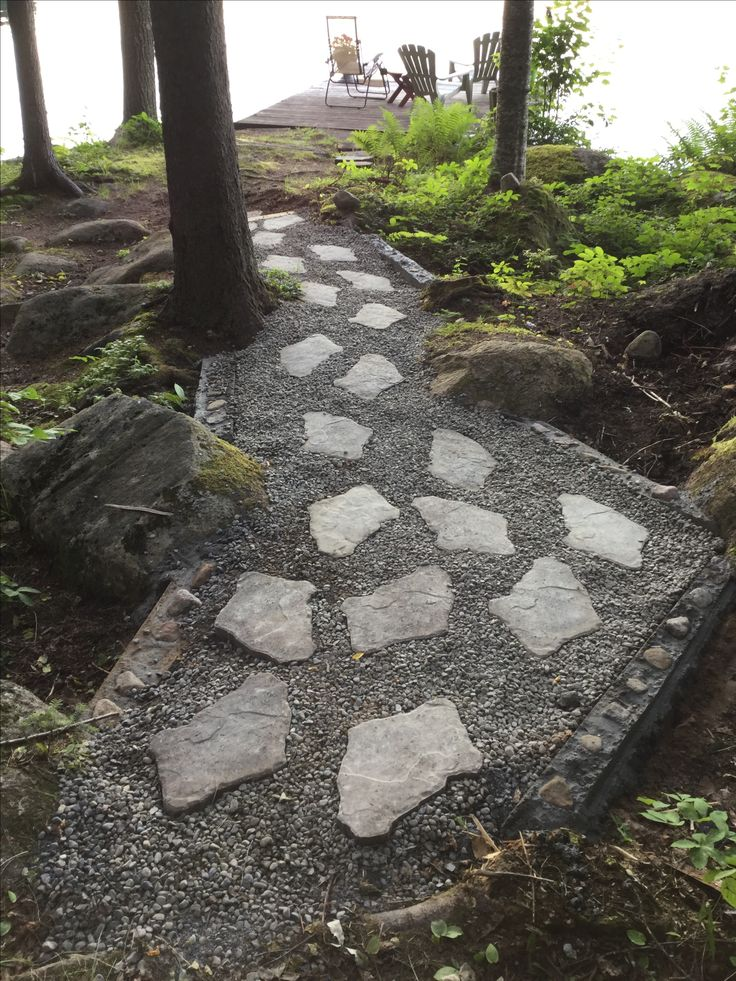 Our New Walkway At The Lake Lowes River Pebbles And
