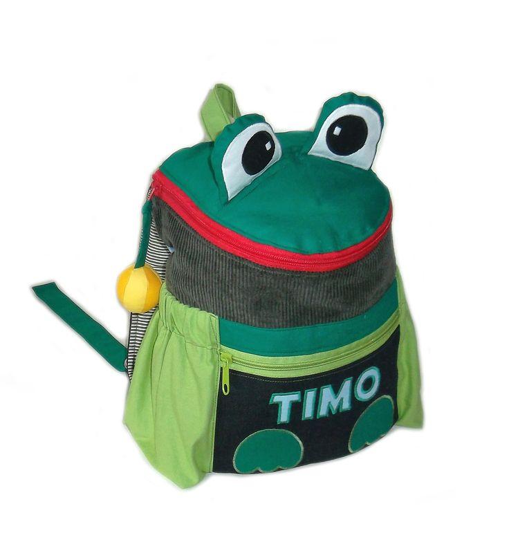 Handgefertigter Froschrucksack mit Namen. Perfekt für die Kindergartenzeit