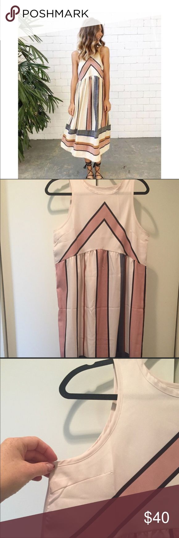 Stripes Midi Dress Size L Material: polyester and spandex   Machine wash cold, no bleach   Relaxed fit Dresses Midi