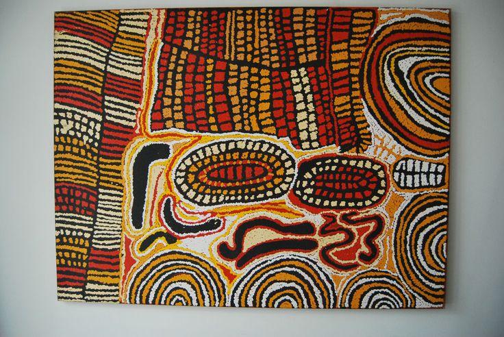 Large Aboriginal Painting by Walangkura Napananagka w. Papunya Tula certificate