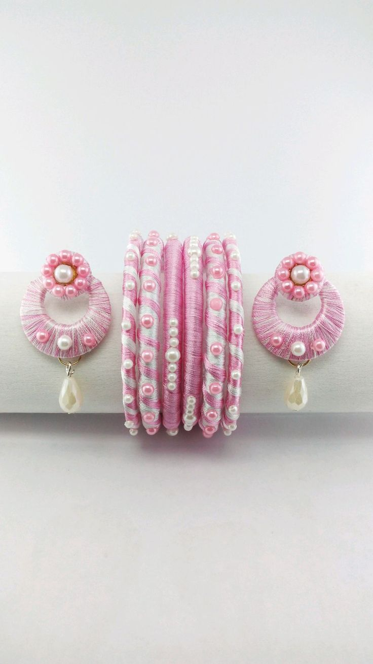 Shop online for Silk Thread Bangles and Earring Set at 43% off in India at Kraftly.com, Shop From Pinai Handicraft, SITHBA40888SWN044037, Easy Returns. Pan India. Affordable Prices. Shipping. Cash on Delivery.