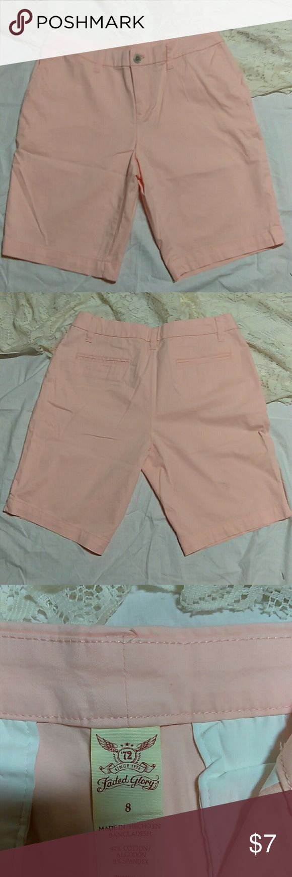 """Faded Glory brushed denim pastel peach shorts sz 8 Faded Glory women's brushed denim pastel peach shorts size 8. Very soft and pretty pastel peach color. Two side hip pockets in front,two pockets on back. Longer in length 9 1/4 """" inseam. 97% cotton,3% spandex. NWOT. Can be worn as every day shorts or as going out,dress shorts. Shorts have some spandex so they move with you,making them comfortable all day long. Faded Glory Shorts Bermudas"""
