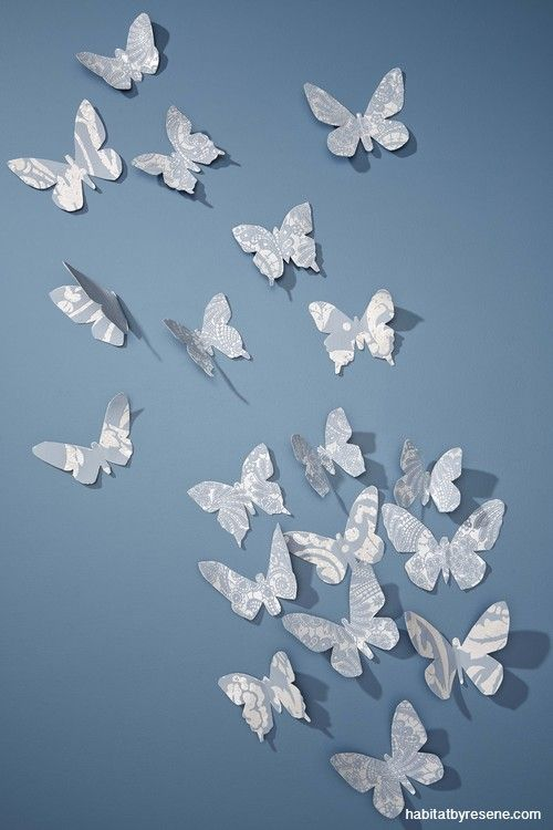 A flurry of paper butterflies is made with wallpapers from the Camargue collection available at Resene.
