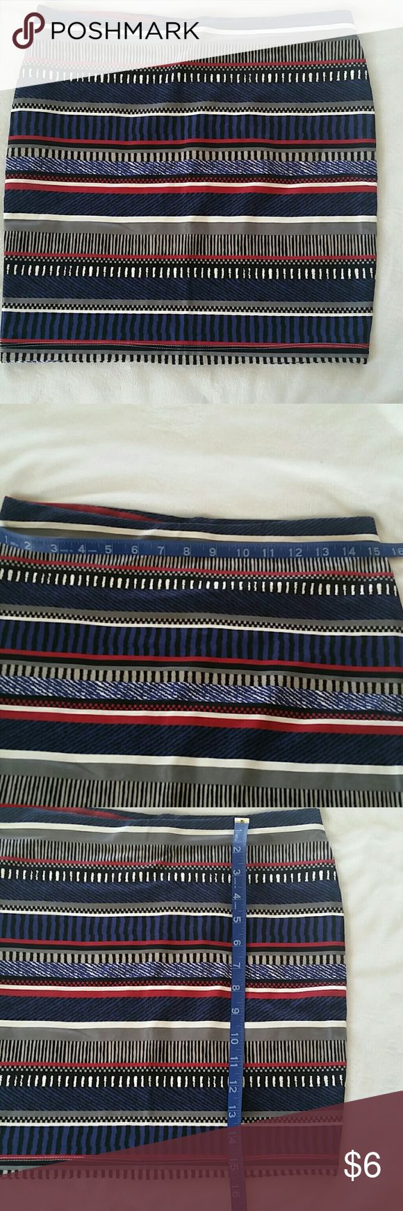 "Forever 21 Striped Color Block Body Con Skirt Forever 21 Striped Color Block Body Con Skirt. Skirt is approximately 15.5"" long and the waist measures about 15"" across. Multi-colored including navy blue, black, white, gray, and red. Forever 21 Skirts Mini"