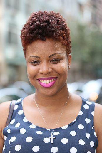 NYFW Mane Attraction. reddish natural hair, tapered haircut TWA