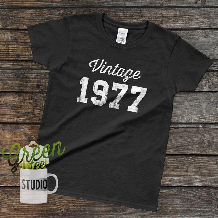 1977 Graphic Tee | 41st Birthday Shirts For Women | Birthday Gifts For Her | 70s  T Shirts | 41st Birthday Gift | 41st Birthday TShirt by GreenTeeStudio on Etsy https://www.etsy.com/listing/579512351/1977-graphic-tee-41st-birthday-shirts