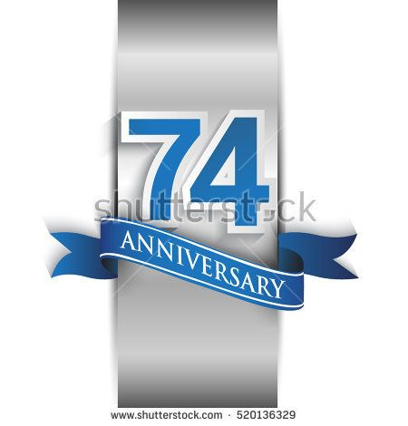 74th anniversary logo with silver label and blue ribbon, Vector design template elements for your birthday party.