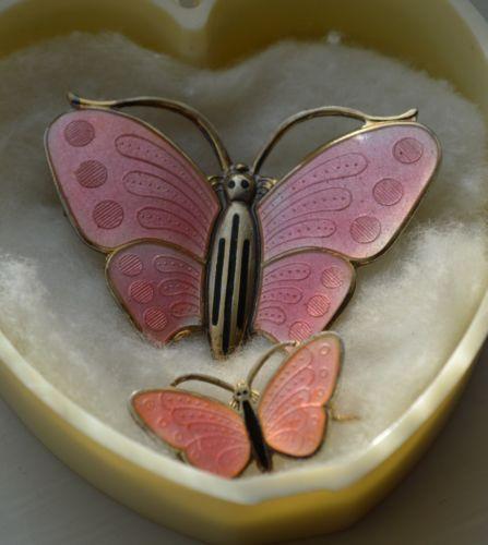 Large Valentine Pink Enamel Butterfly Pin Aksel Holmsen Norway Sterling Silver | eBay