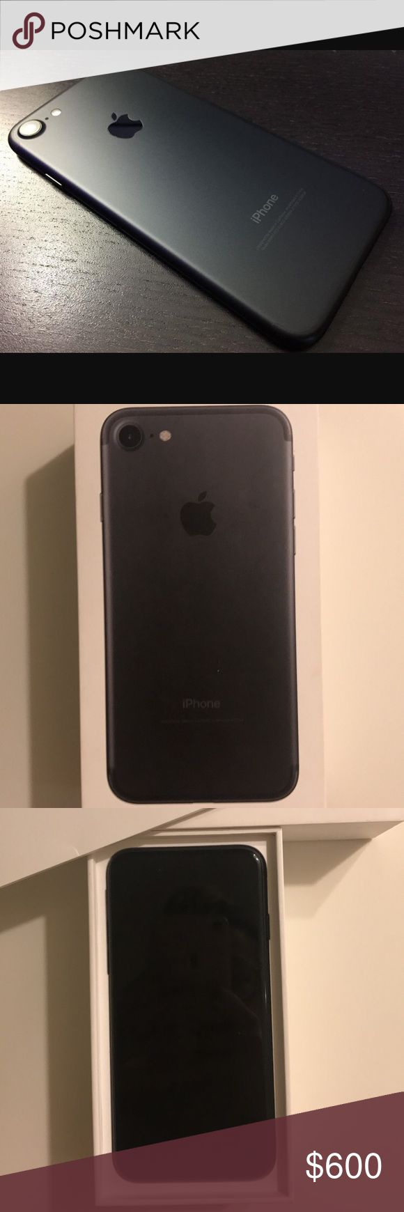 Apple iPhone 7 matte black Has some minor scratches at the top of the phone, but everything else is in good condition! Screen has no scratches or cracks it's 32g. It's 4 months old purchased at sprint. Can be unlocked or can be connected at a sprint store. I will post more photos upon request apple  Other