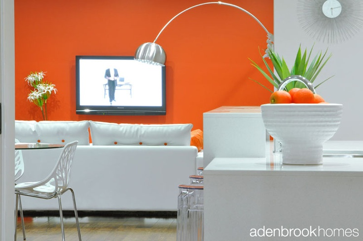 Orange themed retro lounge.