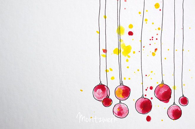 Weihnachskarten ganz einfach selber machen mit Aquarell- oder Wasserfarben und Fineliner | super easy DIY christmas cards made with water colours and sharpie | moritzwerk