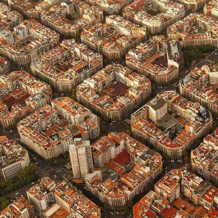 Eixample as seen from a helicopter - Barcelona, Spain