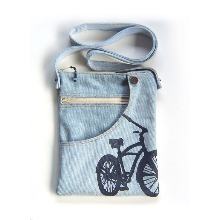 Bicycle Pouch, Shoulder Bag, Recycled Jeans.