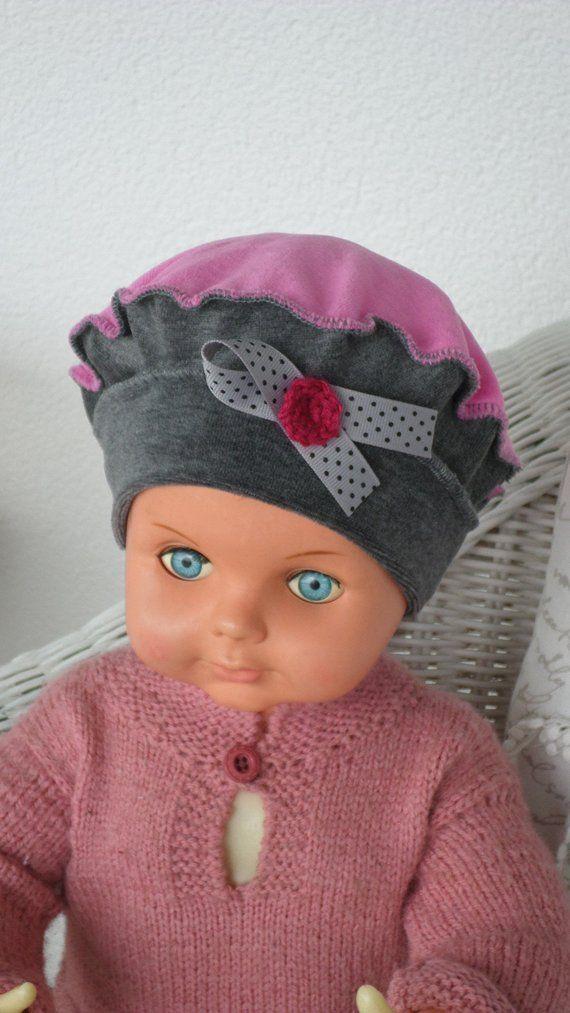 bonnet béret chapeau  bébé fille  lin eva kids en jersey velours coton gris  et rose fuchsia nouvelle collection automne hiver 18555b664de