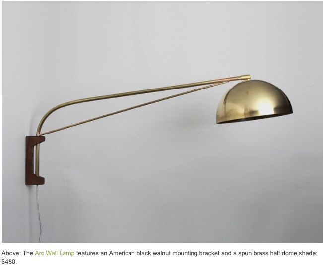 Half dome wall lamp wall sconces by allied maker swiveling wall lamp featuring a black walnut mounting bracket solid brass bent arm hides screws and