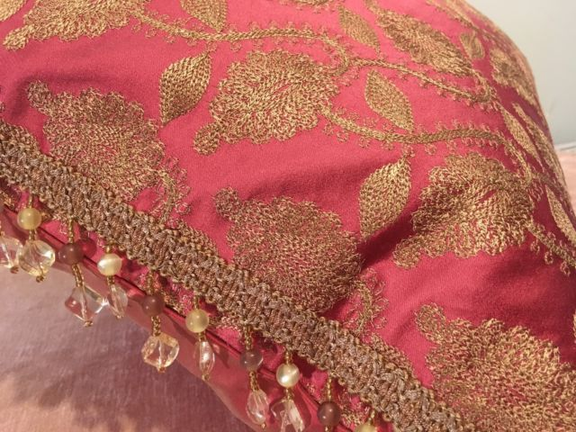 Designer Gold Embroidered Hot Pink Silk Brocade With Beaded Trim Pillow Ebay With Images Beaded Trim Gold Design Silk Brocade