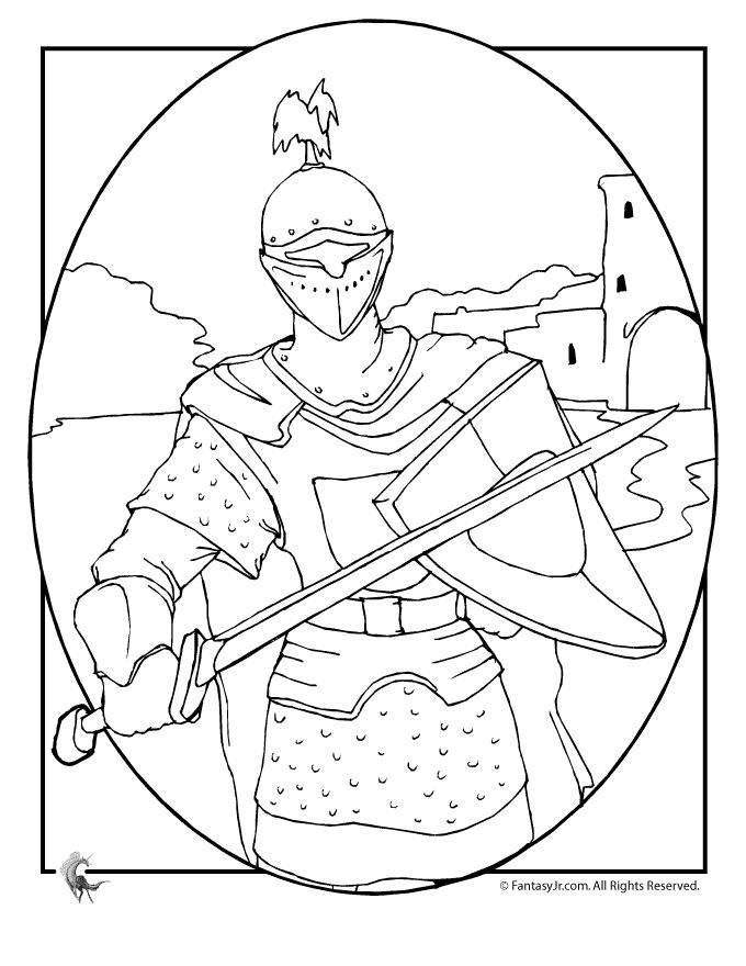 Knights in Shining Armor Coloring Pages knights-castles-coloring-1 – Fantasy Jr.