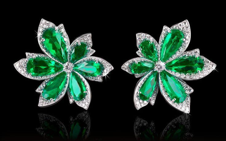 Natural Colombian Emerald & Diamond earrings by David Morris