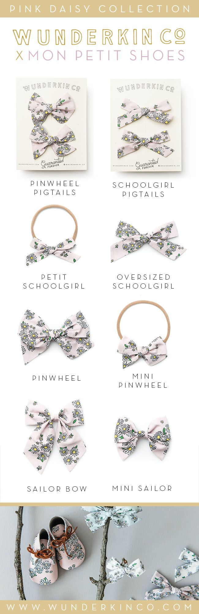 Shop the Mon Petit Shoes x Wunderkin Co. Collection coming July 31st at 10AM MT. // Classic hair bows and matching shoes for your baby, toddler or little girl and her free spirited style. Our bows are handmade by women in the USA and guaranteed for life.