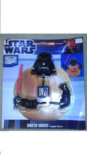 DARTH VADER PUMPKIN PUSH IN STAR WARS HALLOWEEN by Lucasfilm. $25.95. Halloween. Star Wars. set of 4 pieces. push into a pumpkin or any soft service. Not for small children unless supervised. Pointed objects.