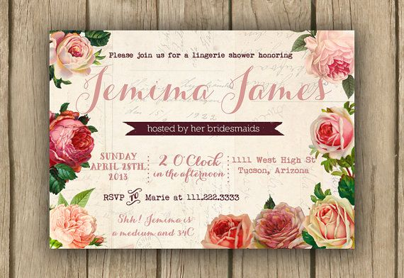 romantic floral invite, shabby chic bridal shower invite, spring shower PROOF in 2 business days on Etsy, $16.50