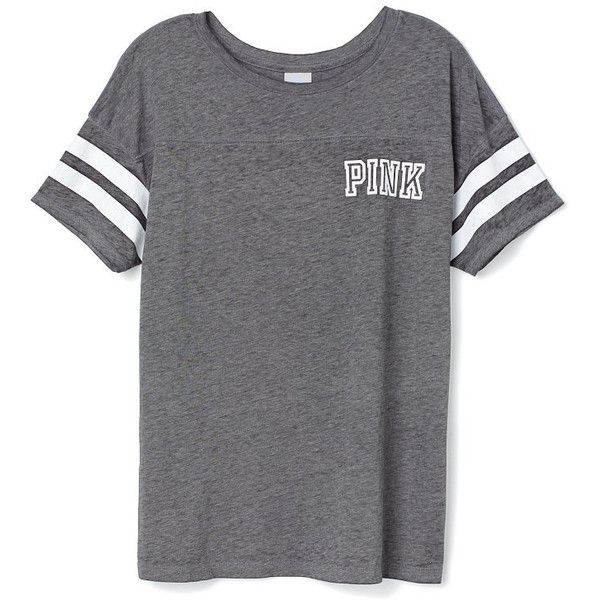 Victoria's Secret Athletic Tee ($27) ❤ liked on Polyvore featuring tops, t-shirts, shirts, blue, relax t shirt, victoria secret pink shirts, print t shirts, print shirts and blue striped shirt