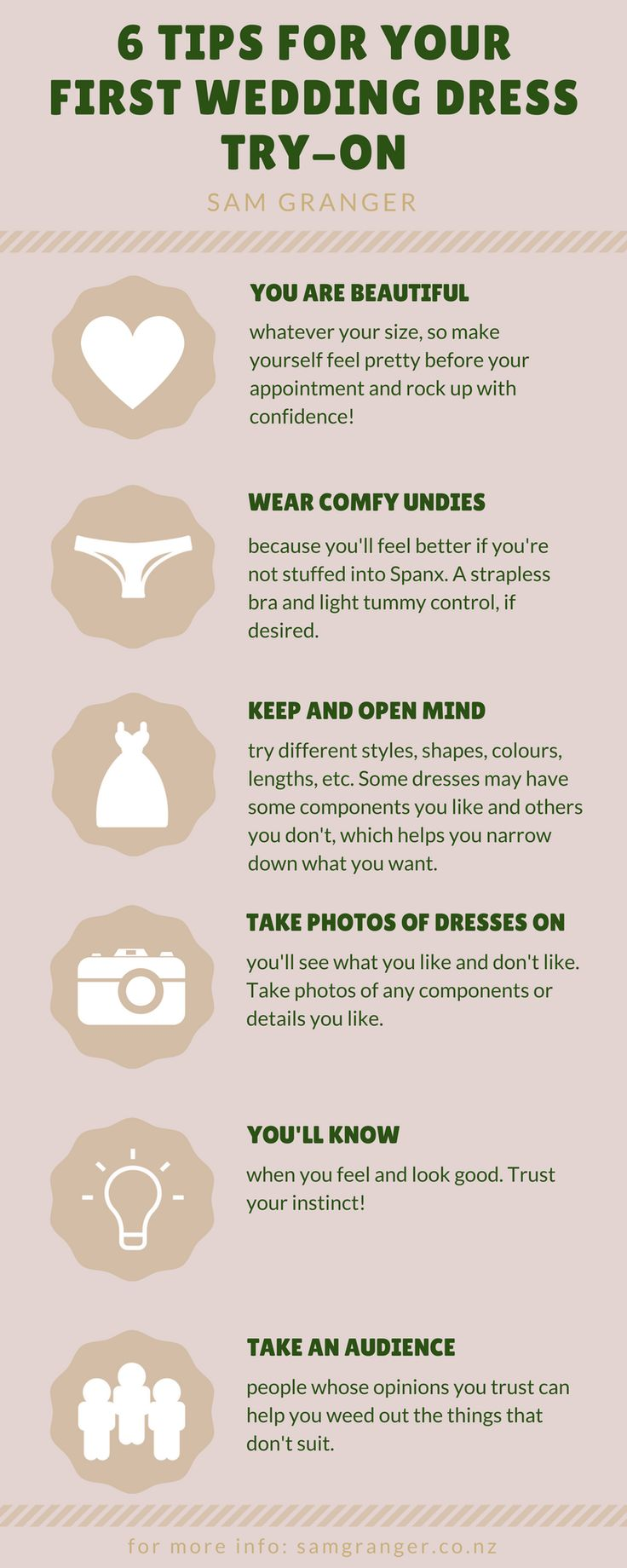 6 Tips for Getting Your First Bridal Gown on by Sam Granger