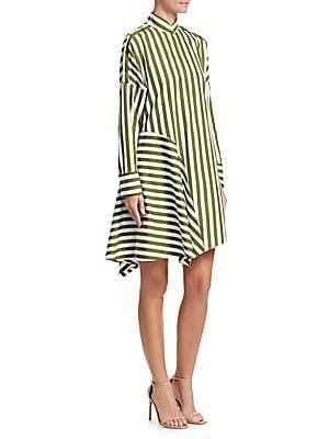 21cd9c6304 Akris punto Asymmetric Wool Stripe Shirtdress