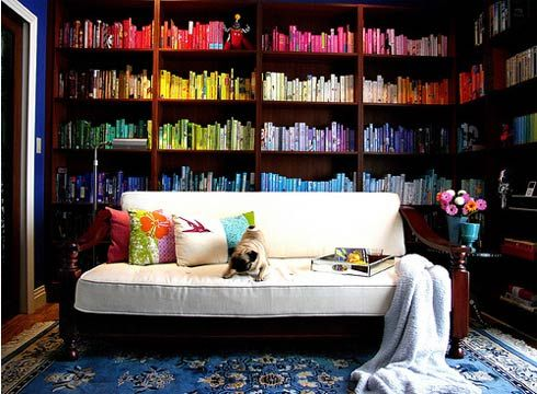 Color spectrum library!: Libraries, Interior, Bookshelves, Idea, Dream, Colors, Rainbows