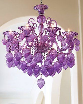 Purple glass chandelier