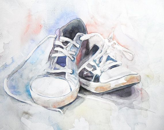 Pair of Sneakers Original Watercolor Painting by nanogallery, $100.00