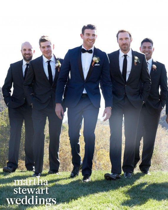 Bryan (in a navy Hugo Boss tuxedo and black bow tie from Nordstrom) chose groomsmen from key phases of his life: three friends from high school in St. Louis, two from college at New York University, a longtime pal from his time in Los Angeles, and his music producer.