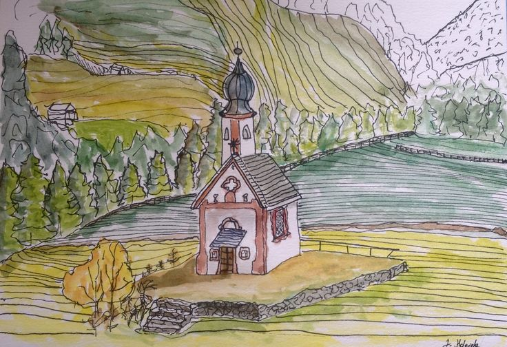 Watercolour church