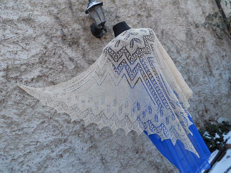 Pletený krajkový šátek - Vanilkový sen... :: Pletena-krajka