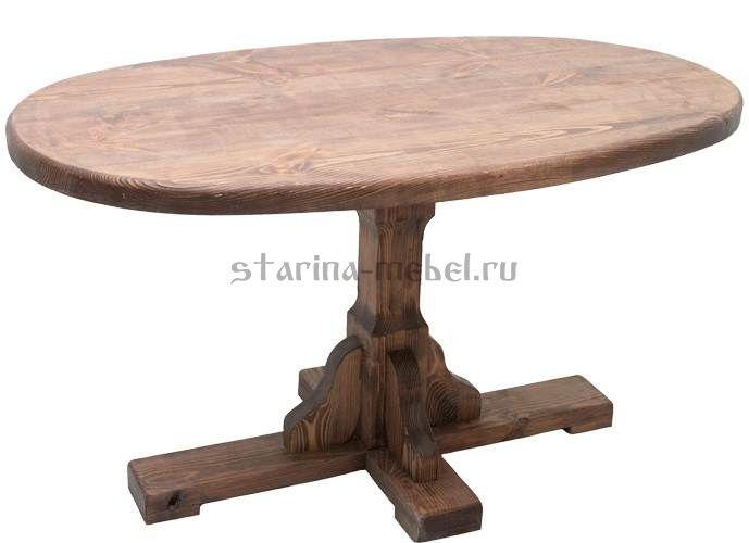 Овальный стол из массива дерева состаренный 1000*600 мм