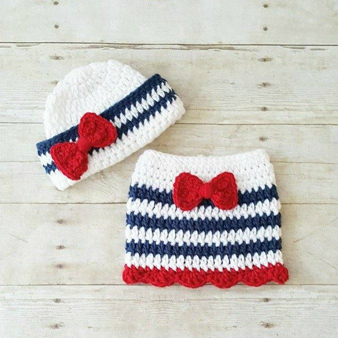 Crochet Baby Sailor Hat Bow Beanie Skirt Set Infant Newborn Photography Photo Prop 4th of July Independence Day Military American Flag Gift