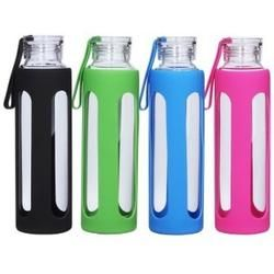 Borosilicate glass water bottles with silicone sleeve - Choice of color